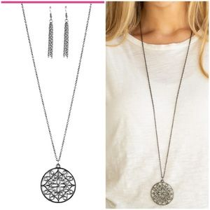 MANDALA MELODY GUNMETAL NECKLACE/EARRING SET